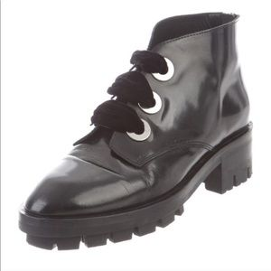 Sandro patent leather ankle boots